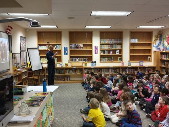 In February, author and illustrator Rick Chrustowski came to share his love of writing and drawing with the students, staff and families of Jefferson and Nicolet elementary schools in Menasha. He is a wonderful example of what it takes to work hard and be a successful author and illustrator.