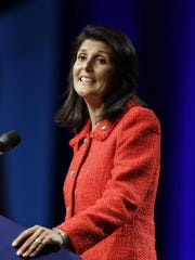 South Carolina Gov. Nikki Haley speaks at the Tennessee Republican Party's 2016 Statesmen's Dinner on Friday, May 13, 2016.