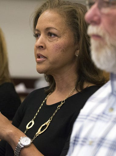Connie Jones answers questions during a press conference on June 12, 2018, at the Coconino County Sheriff's Office in Flagstaff.