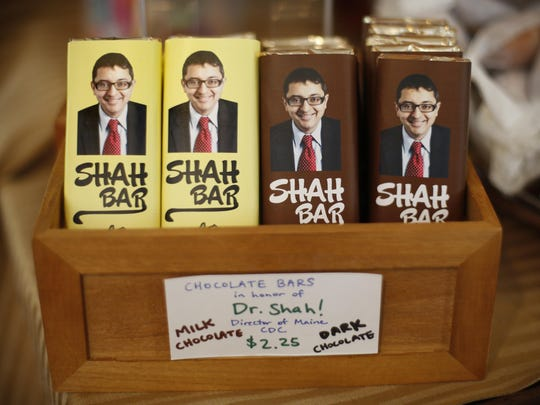 Shah Bars are displayed at Wilbur's Chocolate Confections in Freeport, Maine. The candy store company named the bar in honor of Dr. Nirav Shah, the state's director for the Center for Disease Control and Prevention.