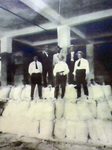Shown here is a historic photo taken during original construction of the building.