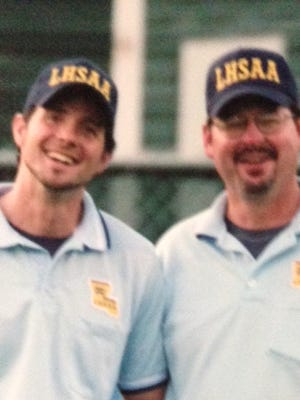 Lee Sanders (left) is shown with older brother Lance before they worked as officials for the 2007 LHSAA State Softball Tournament in Sulphur.