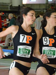 Twin sisters Kathryn, left, and Erika Fluehr compete