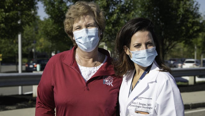 Beth Brownell (left) is pictured with her gynecologic oncologist, Amy Bregar, MD, a Massachusetts General Hospital doctor who provides care at the Seacoast Cancer Center.