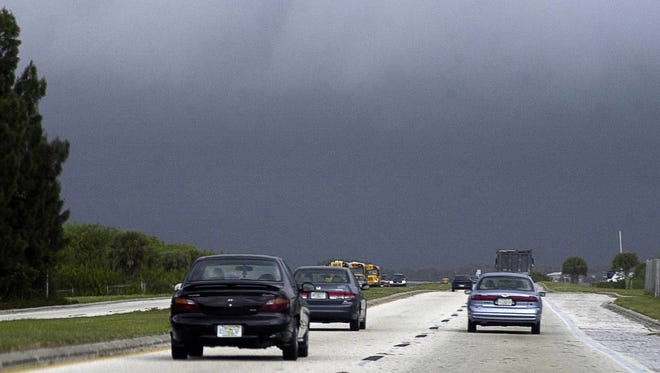 Storm skies are seeing during the approach of a cold front in February, 2004.