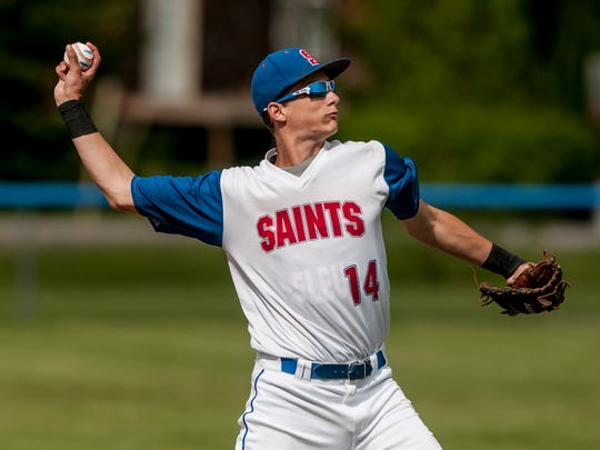 St. Clair's Ryan Zimmer throws to first for an out Tuesday, May 23, 2017 at St. Clair High School.