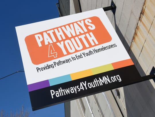 A sign on March 9, 2018, marks the entrance to Pathways