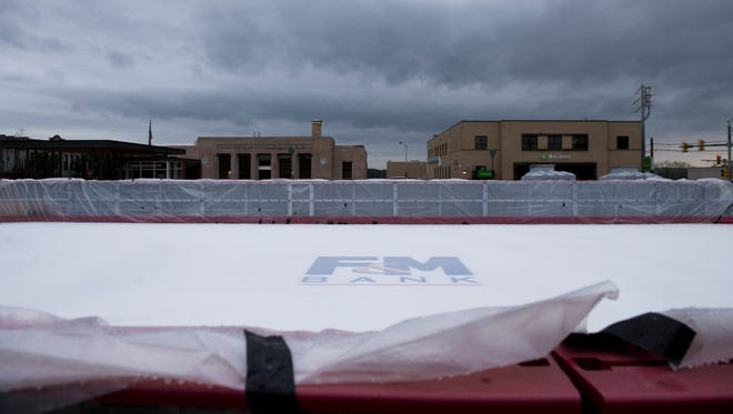 The ice rink in Downtown Commons in Clarksville installed and nearing completion on November 1, 2017.