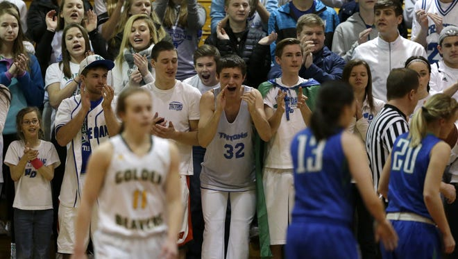 Green Bay Notre Dame fans cheer during a WIAA Division 2 girls basketball sectional final against Beaver Dam.