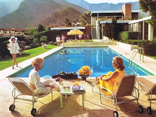 """Poolside Gossip,"" an iconic image from photographer Slim Aarons that includes desert resident Nelda Linsk on far right."