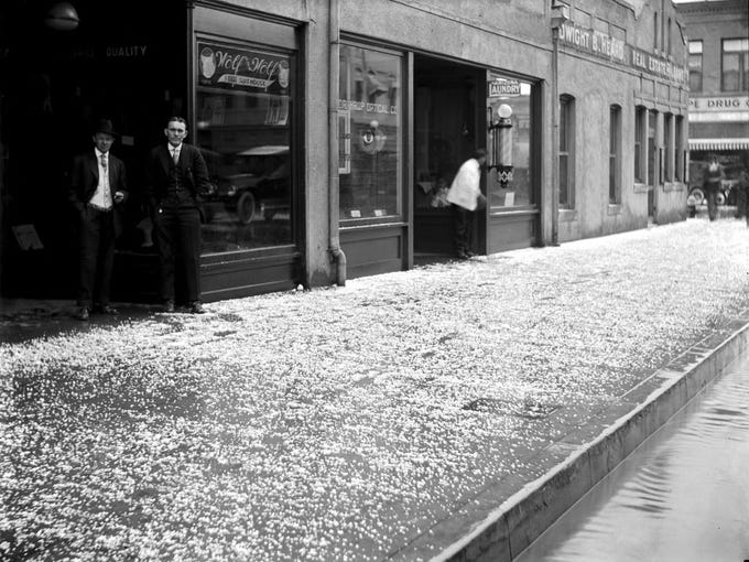 Hail fell on East Adams Street in Phoenix in late afternoon
