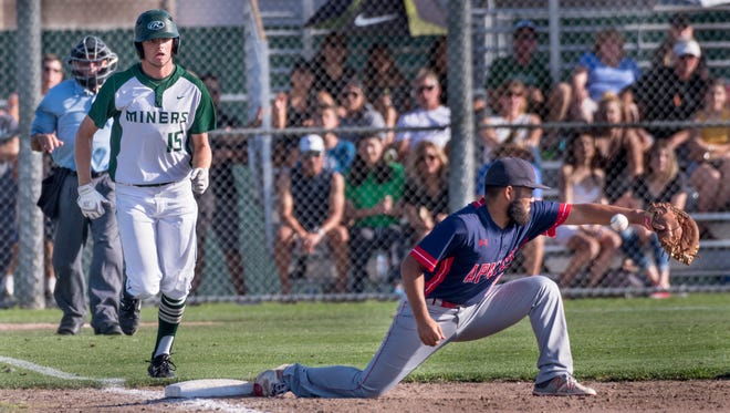 El Diamante's Parker Boswell gets to first on an error against Sanger in a Central Section Division II semifinal baseball game on Tuesday, May 22, 2018. The error set up El Diamante for a winning run.