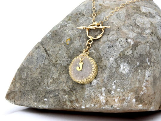 Rosegold druzy necklace, AnemoneJewelry, on sale for