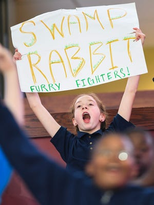 Lead Academy 7th grader Sarah Ethridge cheers as the Greenville Swamp Rabbits play the Wichita Thunder during Middle School Education Day at Bon Secours Wellness Arena in Greenville on Wednesday, March 8, 2017.