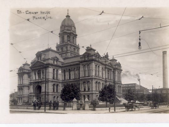 The old Delaware County Courthouse is shown around