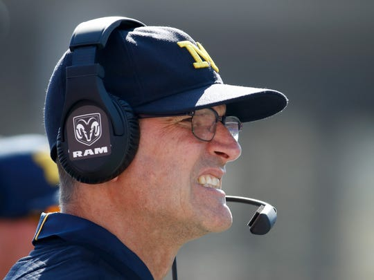 Michigan coach Jim Harbaugh watches the action against Indiana at Memorial Stadium on Oct. 14, 2017 in Bloomington, Ind.