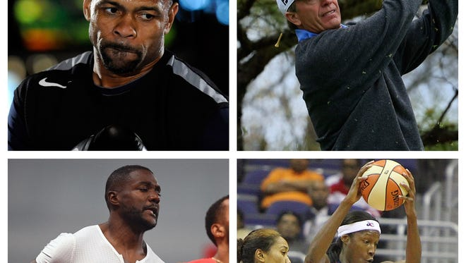 Pensacola natives Roy Jones Jr. (top left), Jerry Pate (top right), Justin Gatlin (bottom left) and Michelle Snow (bottom right).