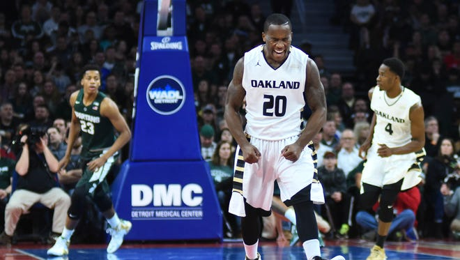 Dec 22, 2015; Auburn Hills, MI, USA; Oakland Golden Grizzlies guard Kay Felder celebrates first half against the Michigan State Spartans at The Palace of Auburn Hills.