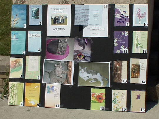 Sympathy cards made out to the 19 cats that Anthony Appolonia allegedly tortured and killed are shown outside the Monmouth County Courthouse in Freehold, N.J.