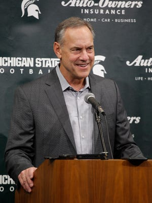 Michigan State coach Mark Dantonio talks about MSU's bowl game, Sunday, Dec. 3, 2017, in East Lansing, Mich.
