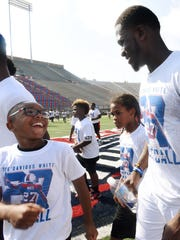 George Franklin shares a moment with Buffalo Bills