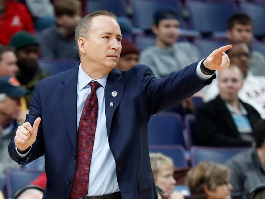 Texas A&M head coach Billy Kennedy is seen on the sidelines during the first half in an NCAA college basketball game against Alabama at the Southeastern Conference tournament Thursday, March 8, 2018, in St. Louis. (AP Photo/Jeff Roberson)