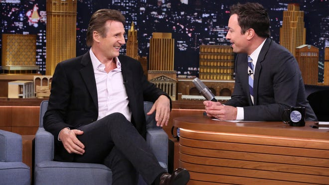 Liam Neeson chats with Jimmy Fallon.