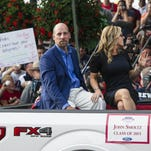 Hall of Fame Inductee John Smoltz and his wife arrive at National Baseball Hall of Fame.
