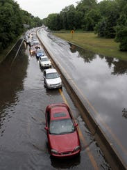 Flooding on the Hutchinson River Parkway in Mount Vernon.