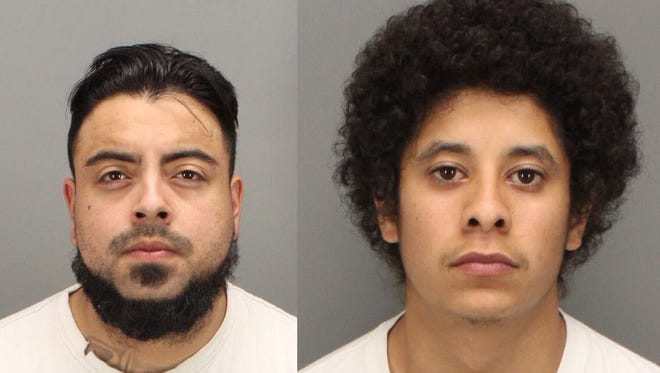 Felipe Arechiga (left) and Santos Franco are suspects in a Cathedral City shooting that injured two people. They were arrested in March.