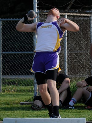 Unioto's Trevor Detillion competes in the shot put Tuesday at the Ross County Meet at Adena High School.