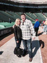 Dean Palmer with wife Kellie at Arlington Stadium.