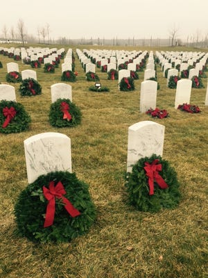 Wreaths at the Great Lakes National Cemetery in Holly.
