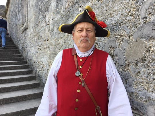 Castillo de San Marcos Fort costumed Spanish soldier. This year is the 100th anniversary of the National Park Service and the fort will have extended hours and candlelight tours leading up to the Aug. 25 anniversary, when admission will be free of charge.