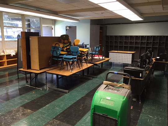 A classroom at Westside Elementary dries out Tuesday after the school was inundated with floodwaters.