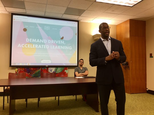 Tallahassee Mayor Andrew Gillum talks about the I/O Avenue Code Academy during a meeting Friday on Tallahassee's tech hire initiative.