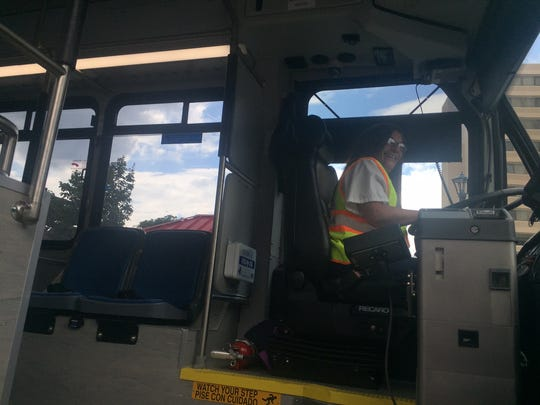 County bus driver Elba Serrano prepares to leave with