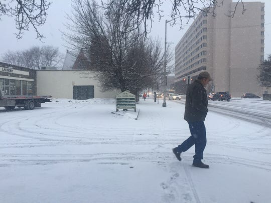 Snow flurries fell in the City of Poughkeepsie Tuesday