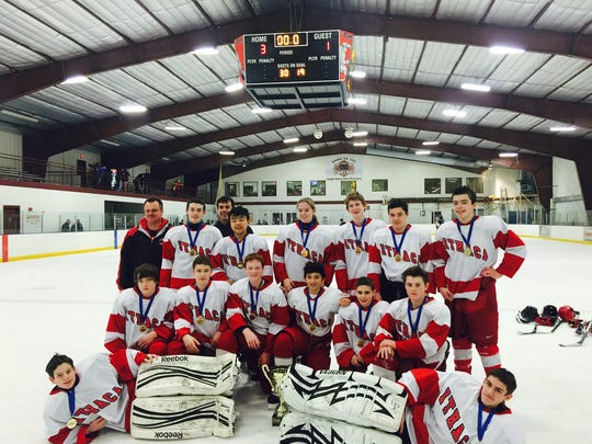 Pictured is the IYHA Bantam travel team, which won the Steel City Shootout on Jan. 17-19 in Bethlehem, Pa. First row, left to right: Goalies Billy Block and Jackson Oates. Second row: David Stevens, Lou Webster, Sam Roach, Jack Duthie, Nathaniel Simons and Chris Kiely. Third row: Coach Joe Sornberger, Xander DiNapoli, Coach Ron DiNapoli, Andrew Kim, Samantha Pundt, Michael Sornberger, Colin McClure and Matteas Derraugh.
