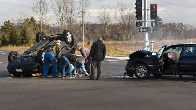 Drivers stopped and helped before law enforcement arrived at a two car collision that occurred Tuesday, Nov. 15. at the intersection of Minnesota High 15 and Stearns County Road 1 leaving one vehicle on it's top.