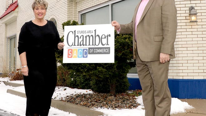 Cathi Abbs, retiring executive director of Sturgis Area Chamber of Commerce, welcomes incoming director Michael Wilson to his upcoming ole. Abbs and Wilson began the transition process after Wilson was selected by the chamber of commerce board. Wilson's first day is set for Jan. 18.