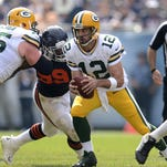 Green Bay Packers receiver Randall Cobb (18) makes a touchdown catch past Chicago Bears cornerback Isaiah Frey (31) in the second quarter during Sunday's game at Soldier Field in Chicago.