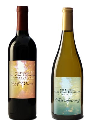 The Florida Gulf Coast University Wine Collection is made up of two wines, a red and a chardonnay.