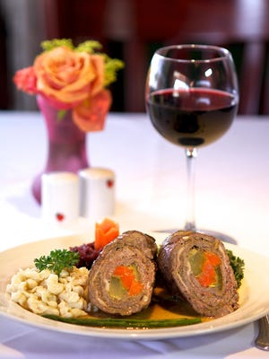 Chef Eddie Deleuil said the roulade at Heidelberg Restaurant – Angus Beef steak stuffed with pickles, carrots, prosciutto, mustard and caramelized onion – is one of his favorite dishes.