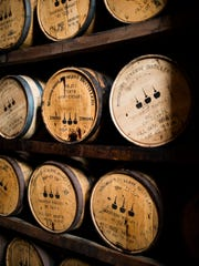 Barrels of bourbon age at the Woodford Reserve Distillery.