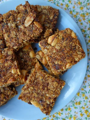 Date, coconut and peanut granola bars.