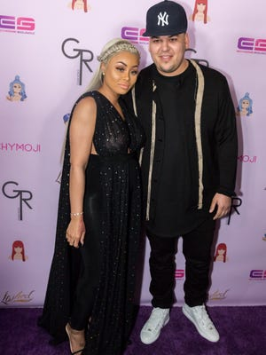 Rob Kardashian and Blac Chyna arrive at her birthday celebration and unveiling of 'Chymoji' emoji collection at on May 10, 2016 in Hollywood.