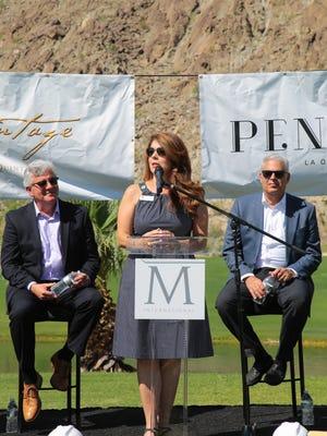 La Quinta Mayor Linda Evans, speaks at the groundbreaking ceremony for La Quinta's Silverrock Resort development project, Monday, May 1, 2017.