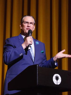 """Producer Alan Rode speaks before the screening of """"Hallow Triumph"""" on the opening night of The Arthur Lyons Film Noir Festival at Camelot Theaters, Thursday, May 11, 2017."""