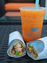 The poke burrito and thai iced tea are two signature